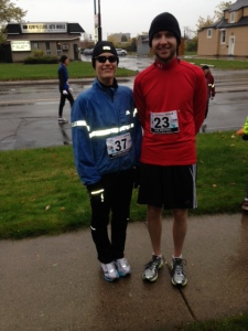 Melissa and I, pre-race.  Hey, we both have prime numbers!