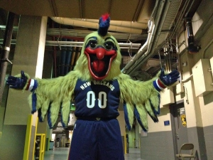 Agh! It's bearing down on me!! (Photo Credit: New Orleans Pelicans)