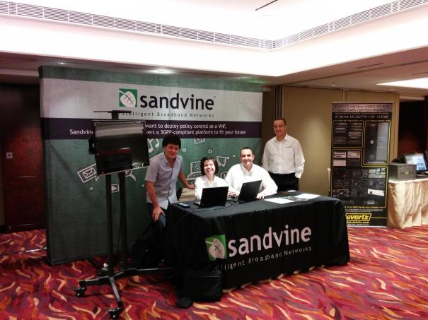 "Some members of the Sandvine APAC team getting ready for ""SDN and OpenFlow APAC Congress"" in Hong Kong."