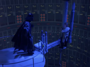 "Vader: ""No Luke. I am your father."" Luke: ""That's not true! That's impossible!"" Vader: ""And Princess Leia is your sister."" Luke: ""That's not true! That's...improbable."" Vader: ""And the Empire will be defeated by Ewoks."" Luke: ""That's...uh...very unlikely."""