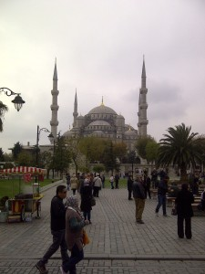 Walking through the Hippodrome to the Blue Mosque.