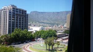 The view of Table Mountain from my hotel window.